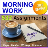 "FREE - Morning Work Bundle Excerpt - ""Cursive Worksheet"" (Gr. 3-7)"