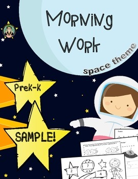 FREE!  Morning Work, Space Theme, Number 0-10, SAMPLE!