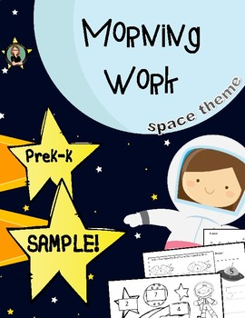 FREE!  Morning Work, Numbers, Space Theme