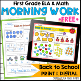 Back to School Morning Work for First Grade FREE