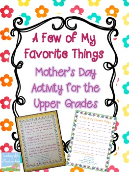 FREE Mother's Day Activity for the Upper Grades {A Few of My Favorite Things}