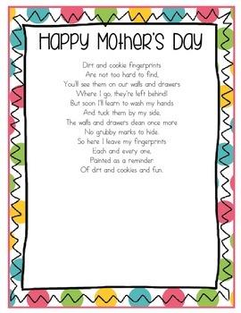 Mother S Day Poem Handprint Free By The Teacher Gene Tpt