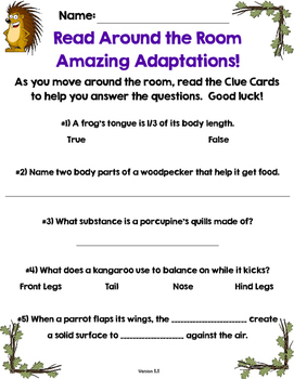 FREE Read the Room: Amazing Adaptations-Common Core