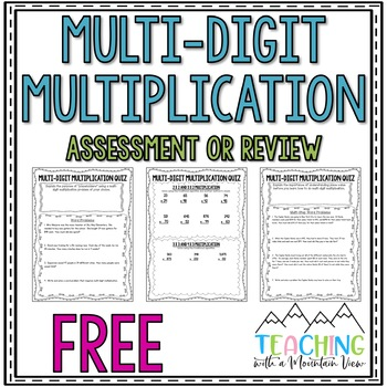 FREE Multi Digit Multiplication Quiz or Review... by Teaching With ...