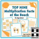 FREE Top Nine Multiplication Facts at the Beach: Math Matching Game Cards