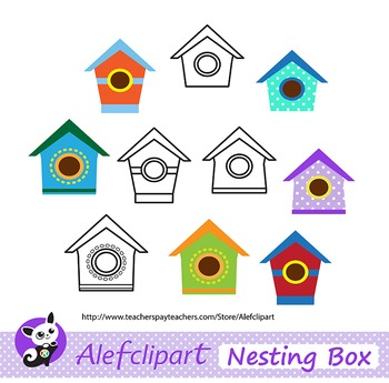 FREE!!! Multicolored Birdhouses Digital Clip Art. Clipart Instant Download.