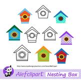 FREE!!! Multicolored Birdhouses Digital Clip Art. Clipart