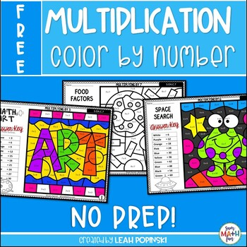 FREE Multiplication Color by Number Worksheets