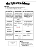 FREE Multiplication Fact Practice Contract