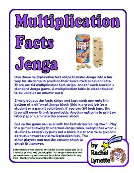 Multiplication Facts Jenga by Rachel Lynette   Teachers Pay Teachers
