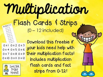 Free multiplication flash cards 2 12 by smart chick tpt for 12 times table flash cards