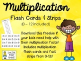 FREE - Multiplication Flash Cards and Fact Strips 0 -12
