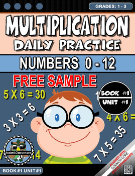 FREE Multiplication Morning Warm-Up Practice 4 Page Sample Grades 1-3