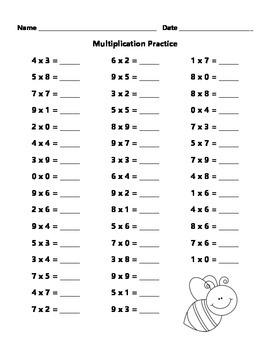 FREE Multiplication Practice Sheet