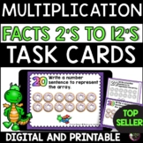 Multiplication Task Cards | Facts 2's to 12's | Digital an