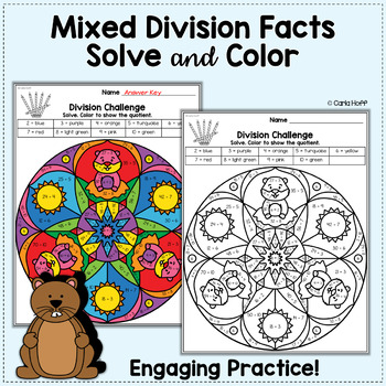 FREE Groundhog Day Multiplication and Division Color by Code Mandalas