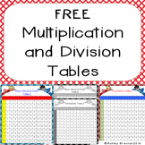 FREE Multiplication and Division Tables