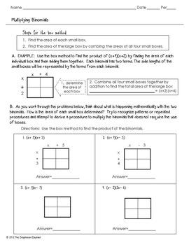 FREE Multiply Binomials Activity Sheet