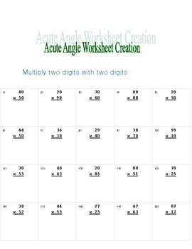 FREE - Multiply two digits with two digits