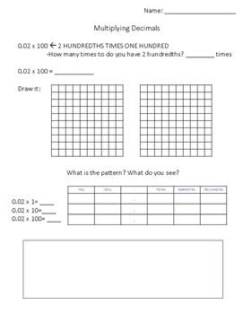 FREE Multiplying Decimals Scaffolded Printable Worksheet