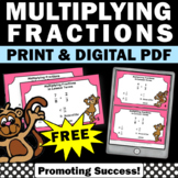 FREE Multiplying Fractions Task Cards 4th 5th Grade Math Review Easel Activities