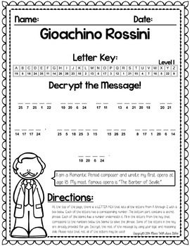 FREE! Music Cryptograms- Composer Quotes- Rossini
