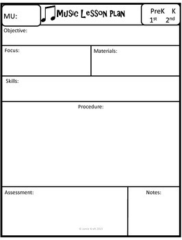 FREE Music Lesson Plans Template By The Recording Studio TpT - Music lesson plan template