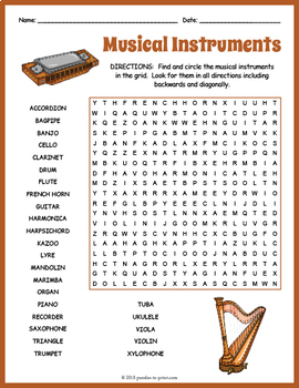 FREE Musical Instruments Word Search Worksheet