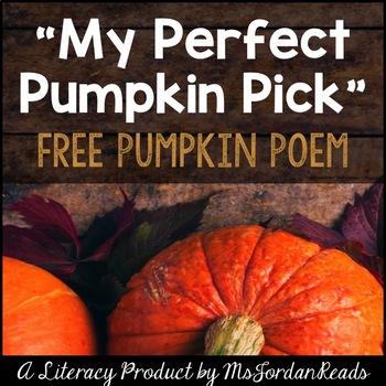 Free Pumpkin Poem For Fall By Msjordanreads Teachers Pay Teachers