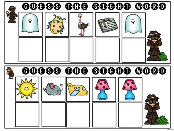 FREE  Mystery Sight Word Game for Work Stations