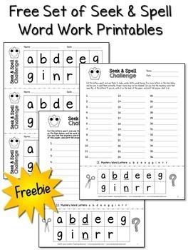 FREE Word Work Printables
