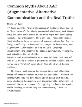 FREE: Myths of Augmentative Communication; a Resource for SLPs  parents teachers