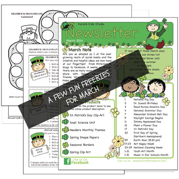 FREE NEWSLETTER March Ideas & Printables