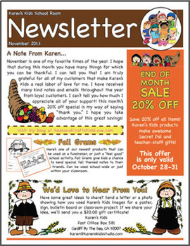 FREE NEWSLETTER November Ideas & Printables