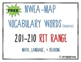FREE-NWEA MAP Vocabulary (Math, Reading Language) RIT 201-210