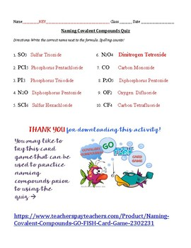 Naming Covalent Compounds Quiz Worksheets Teaching