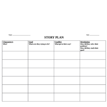 FREE Narrative Graphic Organisers
