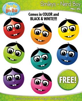FREE Nerd Boy Smiley Face Clipart Set Faces Emotions Clip