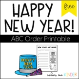 FREE New Year's ABC Order Printable Sheet