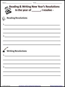 FREE New Year's Reading and Writing Resolutions