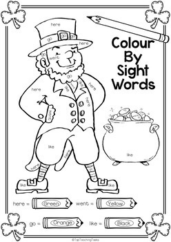 FREE New Zealand Sight Words - St. Patrick's Day Colour By Sight Words