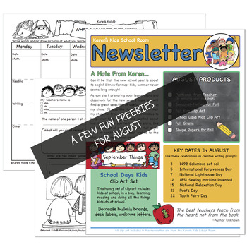 FREE Newsletter August Printables