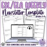 FREE Newsletter Template for ESL/ELA Teachers Print and On