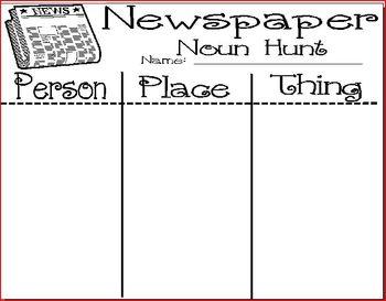FREE: Newspaper Noun Hunt