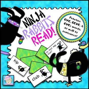 FREE!  Ninja Rabbits Read Card Game