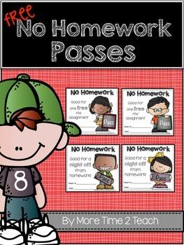 {FREE} No Homework Passes