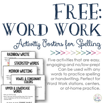 FREE: No/Low Prep Word Work Centers