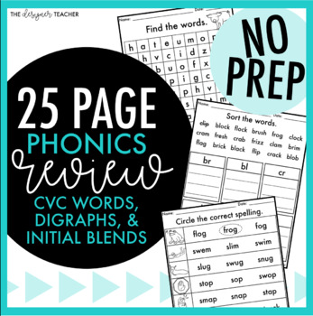 FREE No Prep Phonics Review for CVC Words, Digraphs, & Initial Blends
