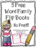 FREE No Prep Word Family Flip Books