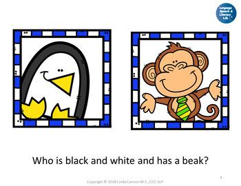 FREE No Print Animal Descriptions & Wh Questions